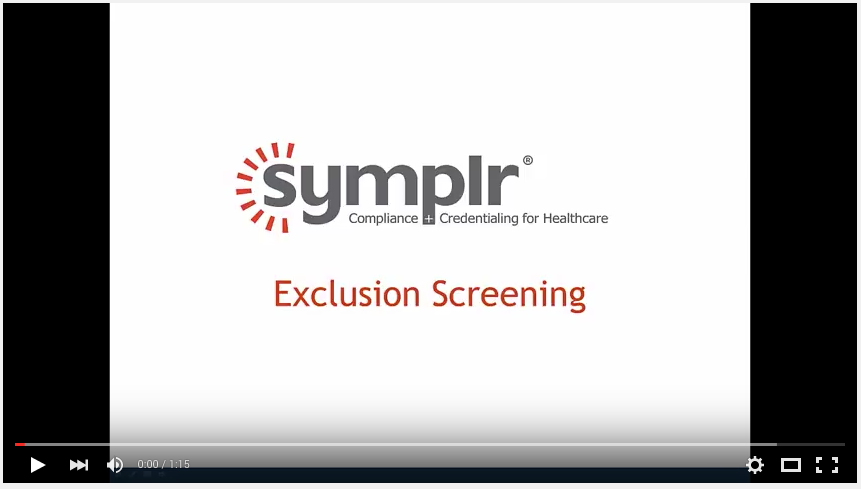 Video | Exclusion Screening Software from symplr
