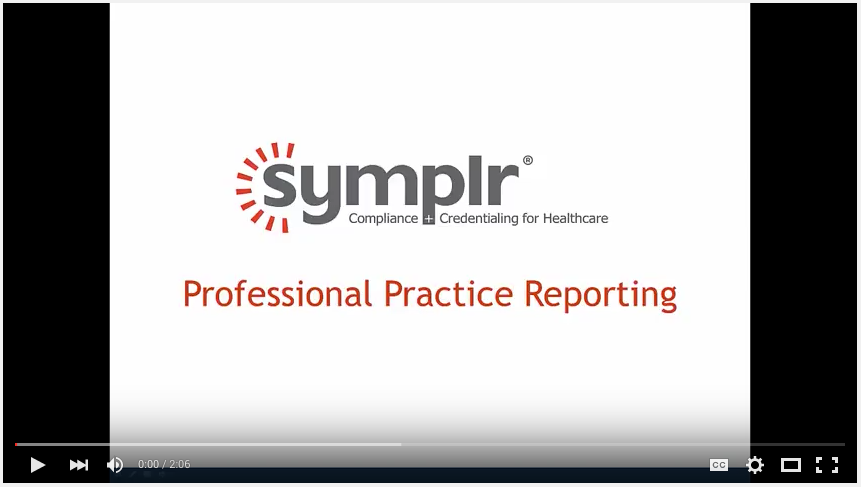Professional Practice Reporting | symplr