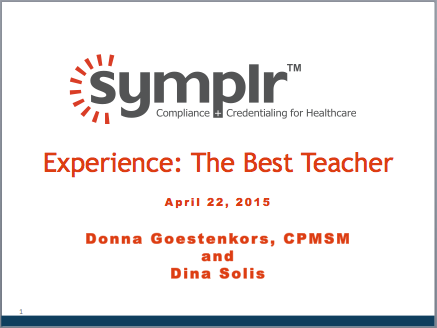 Experience: The Best Teacher | symplr Webcasts