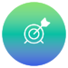 Circle filled with green to blue gradient and white outline icon of a target bullseye and arrow