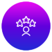Circle filled with purple to blue gradient and white icon of persons silhouette and 3 stars