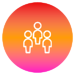 Circle filled with red to purple gradient and an icon of 3 silhouettes of people outlined in white