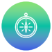 Filled circle with green to blue gradient and white icon of a compass